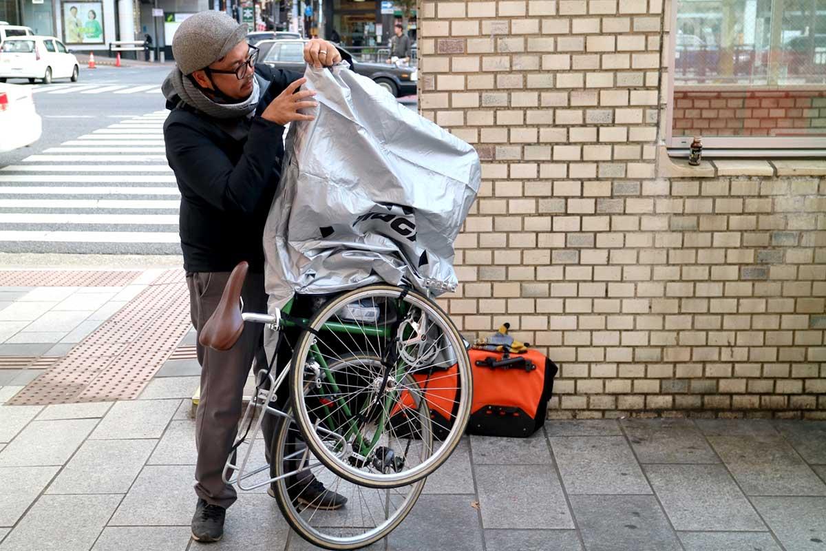 กระเป๋า Rinko bag พับงานเตรียมไว้ใส่จักรยานขึ้นรถไฟ