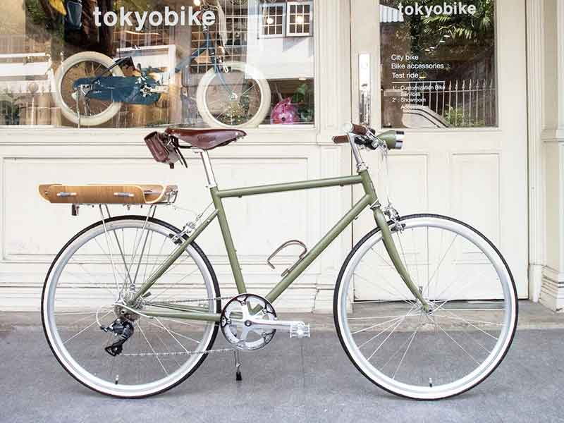tokyobike plus in special green with bent basket limited and ไฟจักรยาน ทำสีพิเศษ