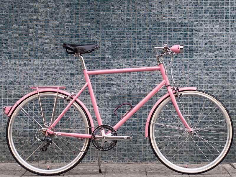 จักรยาน tokyobike plus CS ทำสีพิเศษ สีชมพู และ อุปกรณ์จักรยาน สีชมพู ทั้คัน